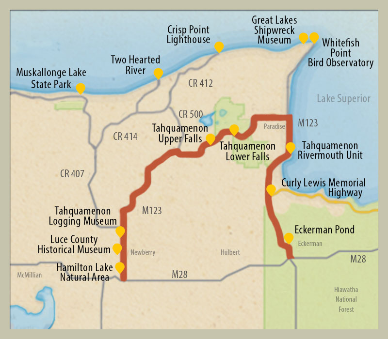 Points Of Interest Map Tahquamenon Falls Region